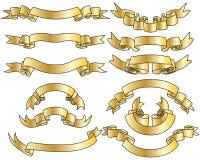 установленные тесемки золота Стоковая Фотография