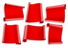 установленные тесемки Реалистическая красная лента глянцевой бумаги Стоковые Изображения RF