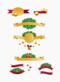 Установленные тесемки рождества Стоковые Изображения