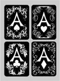Установленные тузы карточек покера Стоковое Изображение