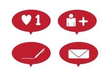Установленные уведомления для социальных сетей Подобие, сообщение, комментарий, подписчик r бесплатная иллюстрация