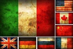 установленные флаги стран Стоковое Изображение