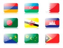 установленные флаги 1 азиата стоковые изображения rf