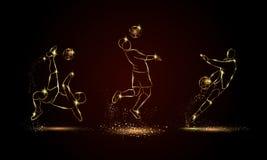 Установленные футболисты Золотая линейная иллюстрация футболиста для знамени спорта, предпосылки стоковые фотографии rf