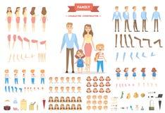 Установленные характеры семьи иллюстрация штока