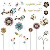 установленные цветки doodle черепашок Стоковые Изображения RF