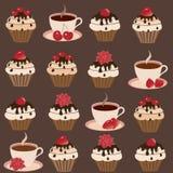 установленные чашки тортов иллюстрация вектора
