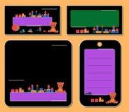 Установленные черные бирки, с плюшевым мишкой и игрушками для примечания рамки для мальчика и девушки бесплатная иллюстрация