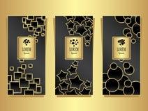Установленные шаблоны для пакета от роскошной предпосылки сделанной геометрическим золотом форм на черноте иллюстрация вектора