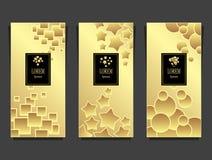 Установленные шаблоны для пакета от роскошной предпосылки сделанной геометрическим золотом форм иллюстрация штока