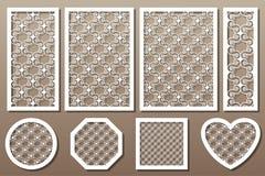 Установленные элементы декоративного искусства для вырезывания лазера Геометрические ornamen иллюстрация штока