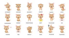 Установленные эмоции собаки иллюстрация штока