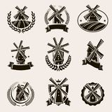 Установленные ярлык и значки мельницы вектор стоковые изображения