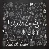 Установленные Doodles рождества и Нового Года Стоковые Фотографии RF