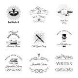 Установленные labeles и значки писателя винтажные также вектор иллюстрации притяжки corel Стоковое Фото