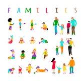 Установленные multiracial дети и установленные семьи бесплатная иллюстрация