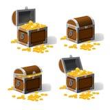 Установленные piratic комоды хобота с сокровищами золотых монеток также вектор иллюстрации притяжки corel Изолированный стиль Cat Стоковые Изображения