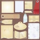 Установленный вектор: винтажный ярлык, бумага, бирка Стоковые Фотографии RF