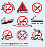 Установленный вектор: Для некурящих ярлыки и иконы знака иллюстрация вектора