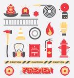Установленный вектор: Значки и символы пожарного плоские Стоковая Фотография