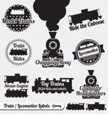 Установленный вектор: Ретро ярлыки и стикеры поезда Стоковое Изображение