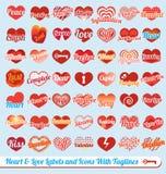 Установленный вектор: Сердце с линиями бирки ярлыками иллюстрация штока