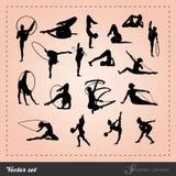 Установленный вектор - силуэт гимнастический Стоковая Фотография RF
