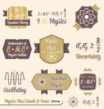 Установленный вектор: Ярлыки типа физики год сбора винограда иллюстрация штока