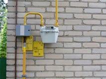 Установленный газовый счетчик с трубами, система Стоковая Фотография RF