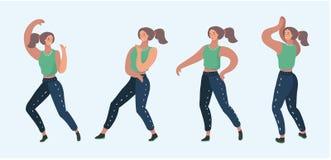 Установленный двигать девушки танца Стоковые Изображения RF
