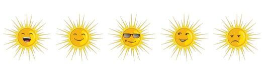 Установленный значок вектора - эмоции солнца Стоковые Фото