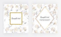 Установленный минималистский плакат, белый мрамор или текстура камня с золотом цветут Шаблон для приглашения дизайна, карточки, з бесплатная иллюстрация