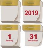 Установленный новый и старый календарь разрыва- 2019 год Стоковое Изображение