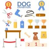Установленный объект выставки собак алюминиевые фары усилия выставки оборудования birder Вектор плоский иллюстрация вектора
