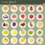 25 установленный основной плоский дизайн, цвета собраний вектора плодов, установил плодов яблоко, банан, апельсин, виноградины, в иллюстрация штока