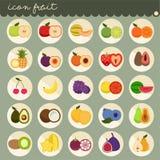 25 установленный основной плоский дизайн, цвета собраний вектора плодов, установил плодов яблоко, банан, апельсин, виноградины, в иллюстрация вектора