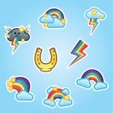 Установленный плоский ботинок лошади стикеров, радуга, белые облака и звезды, multicolor забастовки без предупреждения от серых t бесплатная иллюстрация