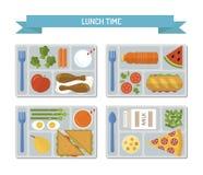 Установленный плоский обед бесплатная иллюстрация