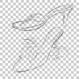 Установленный простой план ботинок женщины, высокая пятка черноты doodle на прозрачной предпосылке влияния бесплатная иллюстрация