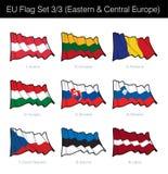 Установленный флаг Европейского союза развевая - восточный и Центральная Европа иллюстрация вектора