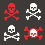 Установленный череп и кости, значок Концепция предупреждения смертной опасности Метка пирата вектор бесплатная иллюстрация