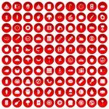 100 установленных значков еды красными иллюстрация штока