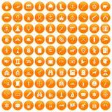 100 установленных значков оружи оранжевыми иллюстрация вектора