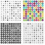 100 установленных значков оружи различными иллюстрация штока