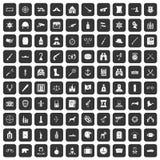 100 установленных значков оружи черными бесплатная иллюстрация