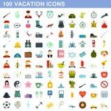 100 установленных значков, плоский стиль каникул иллюстрация штока