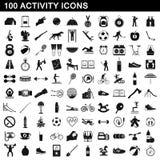 100 установленных значков, простой стиль деятельности иллюстрация штока