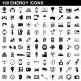 100 установленных значков, простой стиль энергии бесплатная иллюстрация