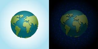Установленная земля днем и ночью планета nighttime в космосе Серия звезд Стоковая Фотография