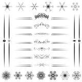Установленная каллиграфическая линия иллюстратор вектора дизайна Стоковое Изображение